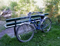 Blue cruiser bike in Missoula, Montana