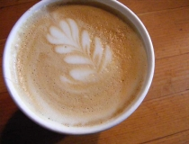 Latte with leaf design
