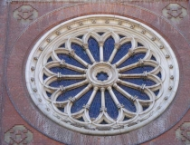 Rose window in the Cathedral of St. Peter and St. Paul in Đakovo Croatia