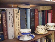 Theological books and teacups