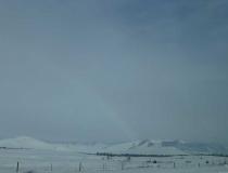 A snowy rainbow