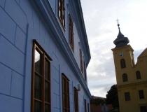 St Michael's Church and blue wall Tvrđa Osijek Croatia