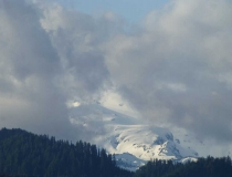 Foggy Mount Rainier from afar