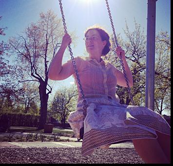 Christy McDougall swinging, by Krista Miller Larson