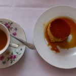 Tea and flan at a Filipino restaurant
