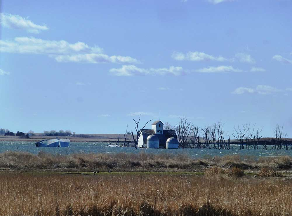 Farm swallowed by a lake