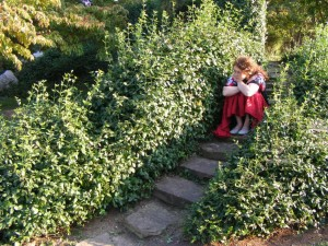 Alone in a Japanese garden