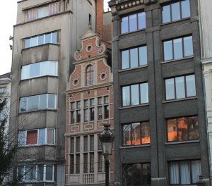 Buildings crammed together in Brussels.